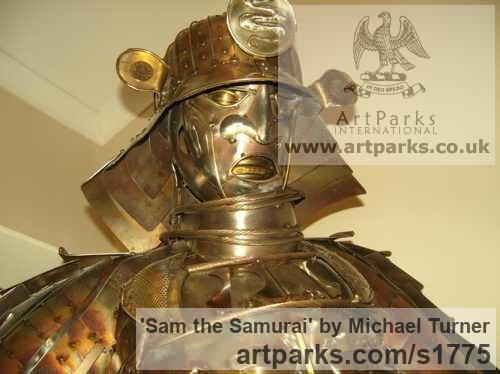 Stainless Steel Male Men Youths Masculine sculpturettes figurines sculpture by sculptor Michael Turner titled: 'Sam the Samurai'