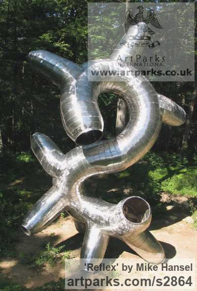 Stainless steel Abstract Contemporary or Modern Outdoor Outside Exterior Garden / Yard sculpture statuary sculpture by sculptor Mike Hansel titled: 'Reflex'
