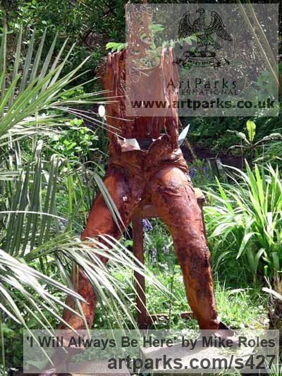 Iron Resin Garden Or Yard / Outside and Outdoor sculpture by sculptor Mike Roles titled: 'I will always be here (Iron resin Modern abstract figurative statue)'