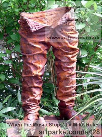 P/ester Resin, glass,fibre, iron, wood Garden Or Yard / Outside and Outdoor sculpture by sculptor Mike Roles titled: 'When the Music Stops (Modern abstract Man`s Trouser sculpture)'
