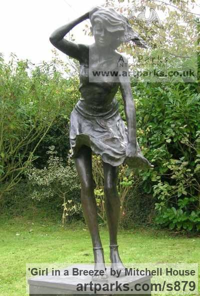 Bronze resin Garden Or Yard / Outside and Outdoor sculpture by sculptor Mitchell House titled: 'Girl in a Breeze (3/4 life size Bronze resin garden Yard statues)' - Artwork View 3