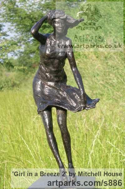 Bronze resin Females Women Girls Ladies sculpture statuettes figurines sculpture by sculptor Mitchell House titled: 'Girl in a Breeze2 (Small Bronze Young female Indoor statuette statues)' - Artwork View 2