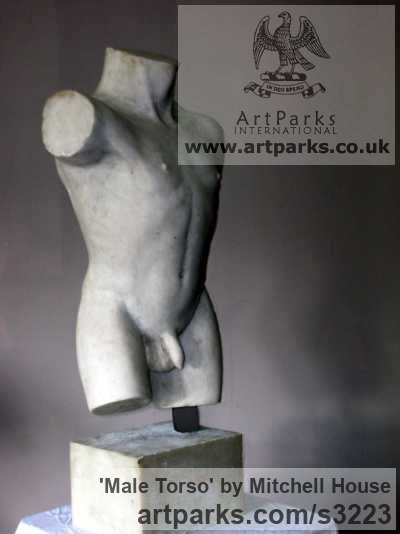 Cold cast, marble,bronze,iron,aluminium Male Men Youths Masculine sculpturettes figurines sculpture by sculptor Mitchell House titled: 'Male Torso (Classical nude life size sculpture)'