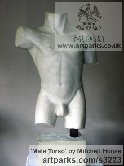 Cold cast, marble,bronze,iron,aluminium Male Men Youths Masculine sculpturettes figurines sculpture by sculptor Mitchell House titled: 'Male Torso (Classical nude life size sculpture)' - Artwork View 2