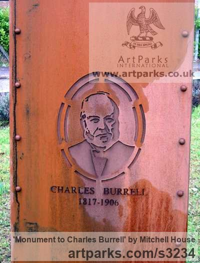 Corten steel plate/bronze Portrait Sculptures / Commission or Bespoke or Customised sculpture by sculptor Mitchell House titled: 'Monument to Charles Burrell (Square Column Memorial steel statue)'