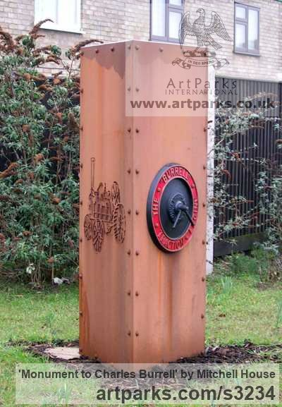 Corten steel plate/bronze Portrait Sculptures / Commission or Bespoke or Customised sculpture by sculptor Mitchell House titled: 'Monument to Charles Burrell (Square Column Memorial steel statue)' - Artwork View 2