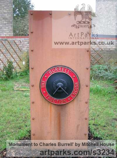 Corten steel plate/bronze Portrait Sculptures / Commission or Bespoke or Customised sculpture by sculptor Mitchell House titled: 'Monument to Charles Burrell (Square Column Memorial steel statue)' - Artwork View 3