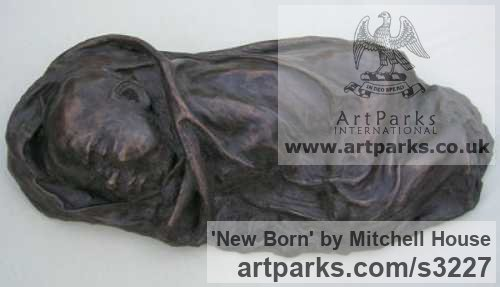 Cold cast bronze,marble Portrait Sculptures / Commission or Bespoke or Customised sculpture by sculptor Mitchell House titled: 'New Born (bronze life size Baby sculptures Sleeping)'