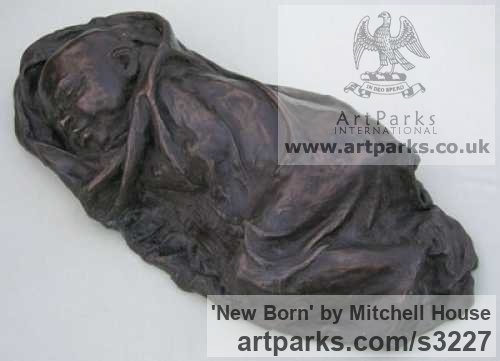 Cold cast bronze,marble Portrait Sculptures / Commission or Bespoke or Customised sculpture by sculptor Mitchell House titled: 'New Born (Nearly life size bronze Baby sculpture Sleeping)' - Artwork View 2