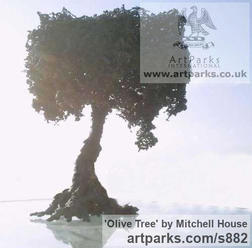 Iron or iron/bronze Abstract Contemporary or Modern Outdoor Outside Exterior Garden / Yard sculpture statuary sculpture by sculptor Mitchell House titled: 'Olive Tree (Bonsai Miniature Small sculpturette statue)' - Artwork View 2