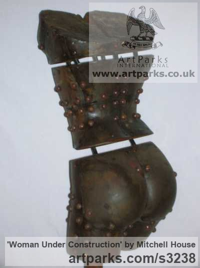Cold cast iron Stylised Nude sculpturette ornament sculpture by sculptor Mitchell House titled: 'Woman Under Construction (Iron Maiden Torso statue)' - Artwork View 4