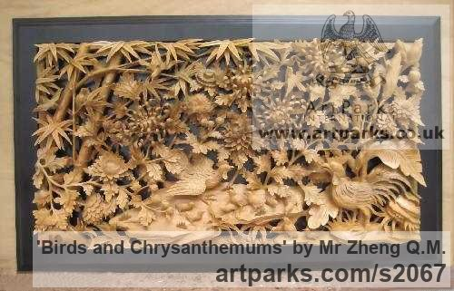Camphor Wood Wall Mounted or Wall Hanging sculpture by sculptor Mr Zheng Q.M. titled: 'Birds and Chrysanthemums (Carved and Gilt wood Chinese panel)'