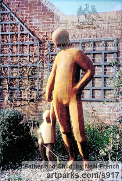 Resin iron Abstract Contemporary or Modern Outdoor Outside Exterior Garden / Yard sculpture statuary sculpture by sculptor Neal French titled: 'Father and Child (Cold Cast Iron resin garden Lifesize sculpture/statue)' - Artwork View 2
