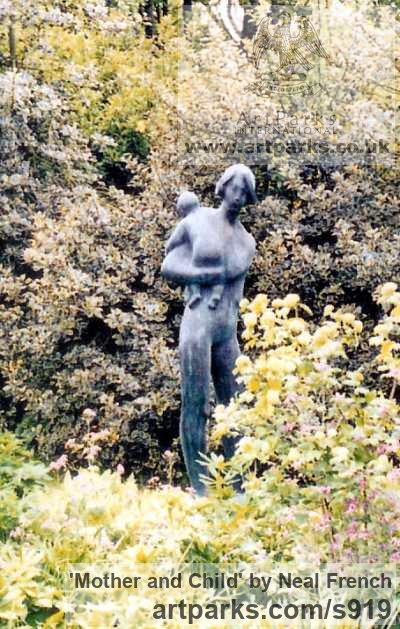 Resin bronze Females Women Girls Ladies sculpture statuettes figurines sculpture by sculptor Neal French titled: 'Mother and Child (Bronze resin life size garden/Yard statue/sculpture)'