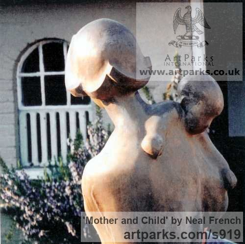Resin bronze Females Women Girls Ladies sculpture statuettes figurines sculpture by sculptor Neal French titled: 'Mother and Child (Bronze resin life size garden/Yard statue/sculpture)' - Artwork View 2