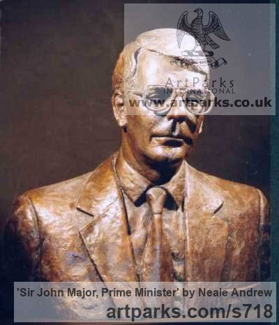 Bronze Portrait Sculptures / Commission or Bespoke or Customised sculpture by sculptor Neale Andrew titled: 'Sir John Major, Prime Minister (Bronze Bust sculpture)'