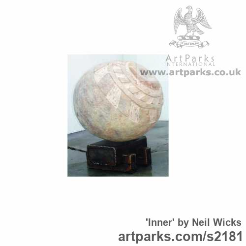 Stone on steel Spherical Globe like Ball shaped Round Abstract Contemporary sculpture statuette sculpture by sculptor Neil wicks titled: 'Inner' - Artwork View 2