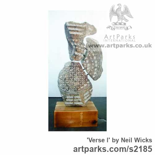 Granite on wood Abstract Contemporary Modern Outdoor Outside Garden / Yard sculpture statuary sculpture by sculptor Neil wicks titled: 'verse l'