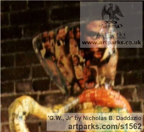 Papi�r Mach Wind Musical Instruments Musicians or Players and Composers sculpture statuette sculpture by sculptor Nicholas B. Daddazio titled: 'G.W., Jr' - Artwork View 4