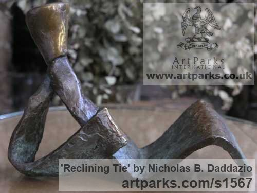 Bronze Figurative Abstract Modern or Contemporary sculpture statuary statuettes figurines sculpture by sculptor Nicholas B. Daddazio titled: 'Reclining Tie' - Artwork View 2