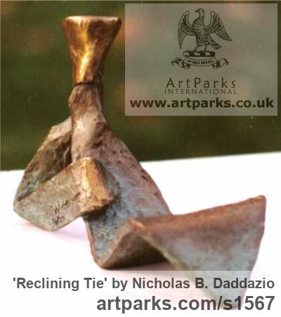 Bronze Figurative Abstract Modern or Contemporary sculpture statuary statuettes figurines sculpture by sculptor Nicholas B. Daddazio titled: 'Reclining Tie' - Artwork View 3