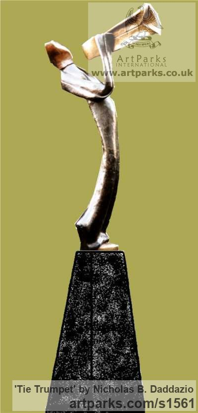 Bronze Male Men Youths Masculine sculpturettes figurines sculpture by sculptor Nicholas B. Daddazio titled: 'Tie Trumpet'