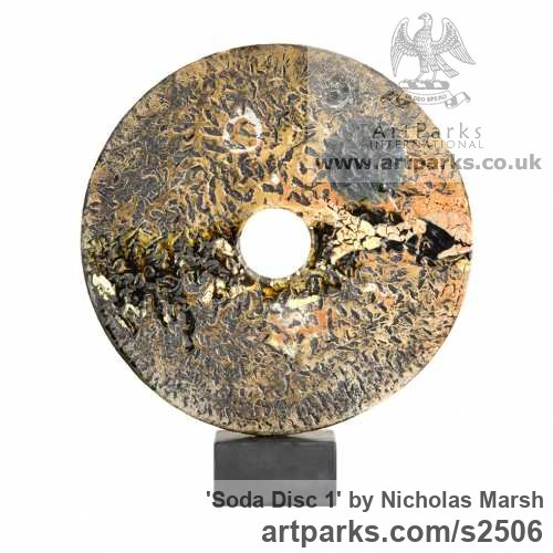 Soda Fired clay Garden Or Yard / Outside and Outdoor sculpture by sculptor Nicholas Marsh titled: 'Soda Disc 1 (abstract Modern Circular ceramic Disk Interior statuettes)'