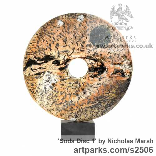 Soda Fired clay Garden Or Yard / Outside and Outdoor sculpture by sculptor Nicholas Marsh titled: 'Soda Disc 1 (abstract Modern Circular ceramic Disk Interior statuettes)' - Artwork View 2