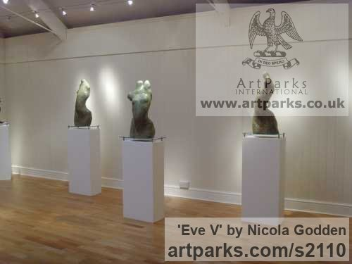Bronze or Bronze Resin Torsos Chests Females / Women / Girls / Damsels sculpture statuary sculpture by sculptor Nicola Godden titled: 'Eve V (female Bronze abstract Minimalist Girl Torso)' - Artwork View 3