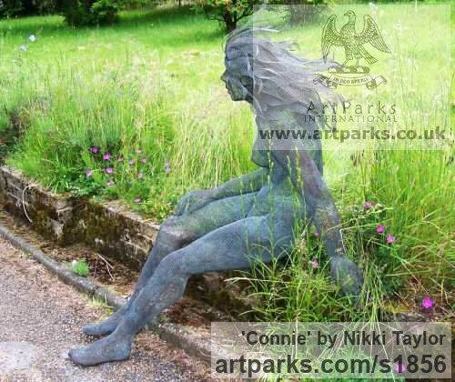 Copper mesh Garden Or Yard / Outside and Outdoor sculpture by sculptor Nikki Taylor titled: 'Connie (Metal Chicken Wire Mesh nude garden Yard sculpture)' - Artwork View 2