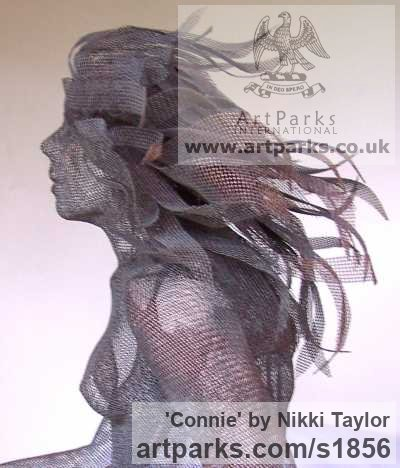 Copper mesh Garden Or Yard / Outside and Outdoor sculpture by sculptor Nikki Taylor titled: 'Connie (Metal Chicken Wire Mesh nude garden Yard sculpture)' - Artwork View 4