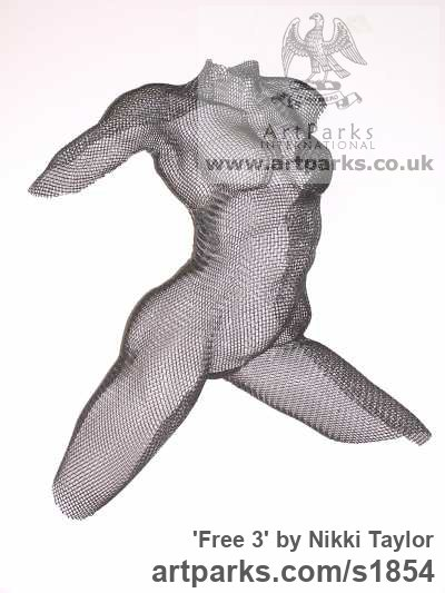 Coated stainless steel mesh Garden Or Yard / Outside and Outdoor sculpture by sculptor Nikki Taylor titled: 'Free 3 (Wire Mesh Dancing nude Girl Torso Relief sculpture)'
