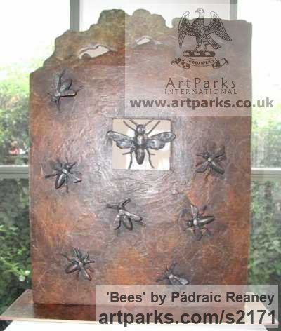 Bronze Wall Mounted or Wall Hanging sculpture by sculptor Pádraic Reaney titled: 'Bees (Bronze Bees Plaque Wall Hung sculptures)' - Artwork View 1
