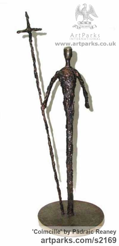 Bronze Abstract Contemporary or Modern Outdoor Outside Exterior Garden / Yard sculpture statuary sculpture by sculptor Pádraic Reaney titled: 'Colmcille (Small Semi abstract Man and Cross bronze)'
