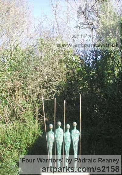 Bronze Abstract Contemporary or Modern Outdoor Outside Exterior Garden / Yard sculpture statuary sculpture by sculptor P�draic Reaney titled: 'Four Warriors (bronze with 4 Spears Modern statuette)'