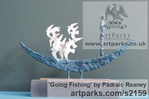 Bronze Tabletop Desktop Small Indoor Statuettes Figurines sculpture by sculptor Pádraic Reaney titled: 'Going Fishing'