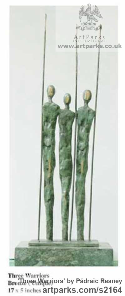 Bronze Abstract Contemporary or Modern Outdoor Outside Exterior Garden / Yard sculpture statuary sculpture by sculptor Pádraic Reaney titled: 'Three Warriors (Small Bronze soldiers statuettes)'