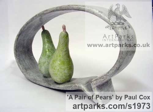 Resin Outsize Big Large Fruit Flower Plant sculpture statuaryGarden Ornament sculpture by sculptor Paul Cox titled: 'A Pair of Pears (Fun Amusing Fruit Indoor sculptures)'