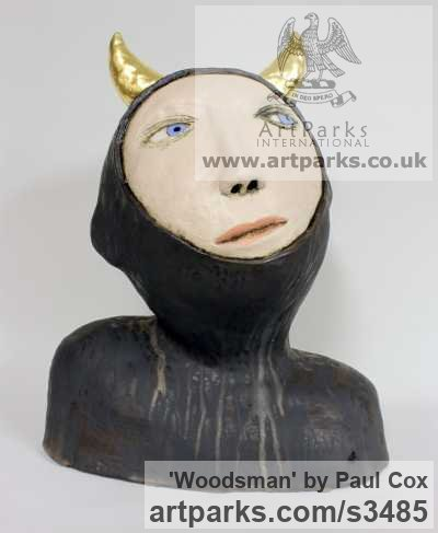 Ceramic, gold leaf Children Child Babies Infants Toddlers Kids sculpture statuettes figurines sculpture by sculptor Paul Cox titled: 'Woodsman' - Artwork View 1