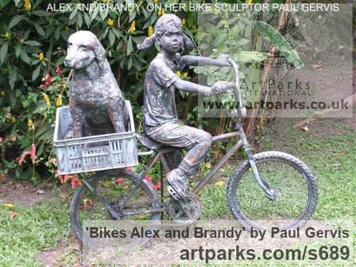 Bronze Resin Garden Or Yard / Outside and Outdoor sculpture by sculptor Paul Gervis titled: 'Bikes Alex and Brandy (Girl and Dog on Bicycle statue)' - Artwork View 1