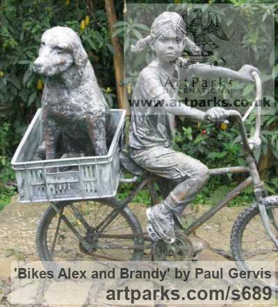 Bronze Resin Garden Or Yard / Outside and Outdoor sculpture by sculptor Paul Gervis titled: 'Bikes Alex and Brandy (Girl and Dog on Bicycle statue)' - Artwork View 3