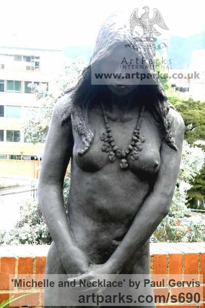 Bronze Garden Or Yard / Outside and Outdoor sculpture by sculptor Paul Gervis titled: 'Michelle and Necklace (nude Lifesize Bronze garden sculpture)' - Artwork View 2