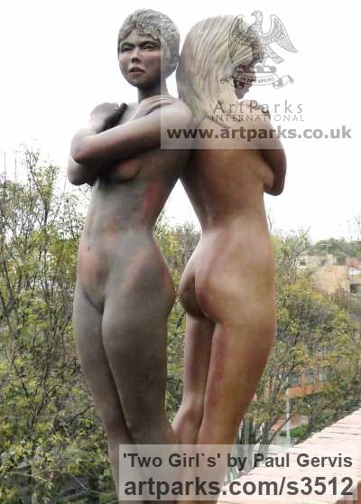 Bronze Resin Garden Or Yard / Outside and Outdoor sculpture by sculptor Paul Gervis titled: 'Two Girl`s (3/4 Size nude Beauties garden sculptures)'