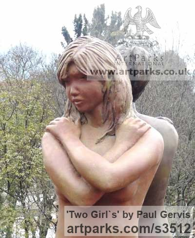 Bronze Resin Garden Or Yard / Outside and Outdoor sculpture by sculptor Paul Gervis titled: 'Two Girl`s (3/4 Size nude Beauties garden sculptures)' - Artwork View 2