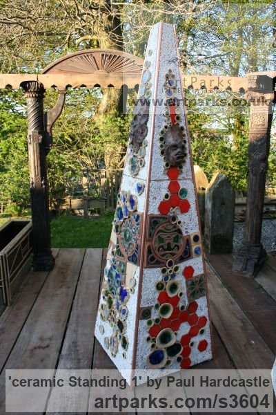 Ceramic Abstract Contemporary or Modern Outdoor Outside Exterior Garden / Yard sculpture statuary sculpture by sculptor Paul Hardcastle titled: 'ceramic Standing 1 (ceramic Tall Obelisk garden sculpture)'