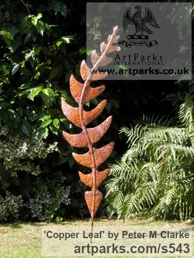 Copper Garden Or Yard / Outside and Outdoor sculpture by sculptor Peter M Clarke titled: 'Copper Leaf (Outside Large Big Fern Oak Rowan Foliage statues)'