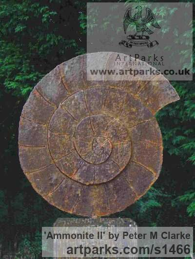 Mild Steel Garden Or Yard / Outside and Outdoor sculpture by sculptor Peter M Clarke titled: 'Ammonite II (Affordable garden or Yard Fossil Shell sculpture)'