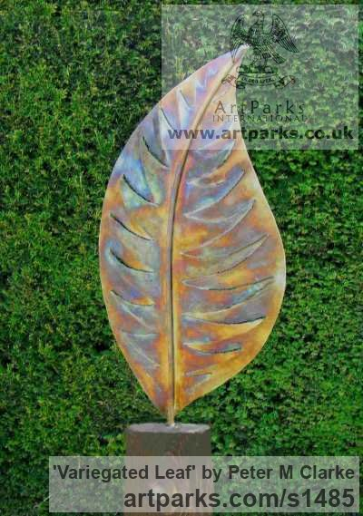 Stainless Steel/Wood Plinth Garden Or Yard / Outside and Outdoor sculpture by sculptor Peter M Clarke titled: 'Variegated Leaf Form (Big/Outsize stainless Steel garden sculptures)' - Artwork View 1
