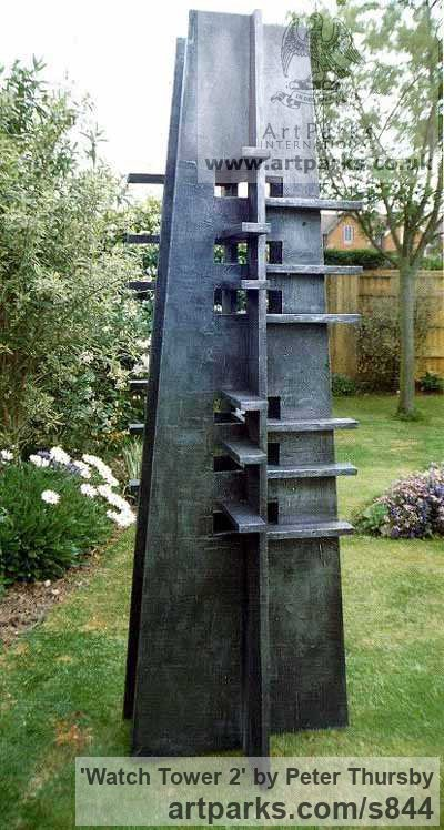 Wood & Aluminum resin Abstract Contemporary Modern Outdoor Outside Garden / Yard sculpture statuary sculpture by sculptor Peter Thursby titled: 'Watch Tower 2' - Artwork View 1
