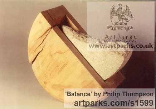 Pine & Limestone Carved Abstract Contemporary Modern sculpture carving sculpture by sculptor Philip Thompson titled: 'Balance (Modern stone and Wood Indoor Contemporary abstract sculptures)'